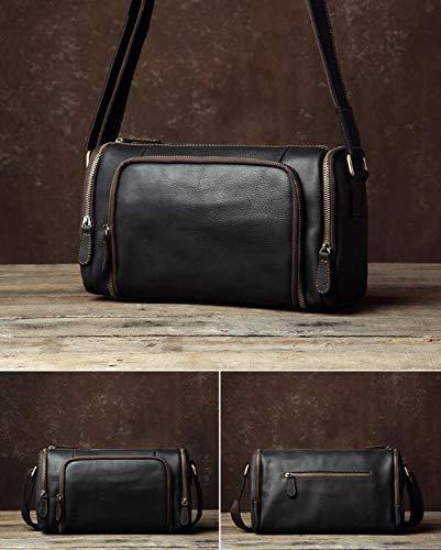 Men's Large Waterproof Genuine Leather Overnight Travel Duffle Bag - Vintage Super Lightweight Weekender Bags Sports Gym Bag - Black 32x13x19cm / Black