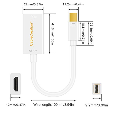 4K Mini DisplayPort to HDMI Adapter CableCreation Mini DP(Thunderbolt Port Compatible) to HDMI AV HDTV Male to Female Adaptor for Mac Book Imac, White Color