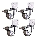 BJLWTQ Casters 4 PCS Castors Rubber Wheels Universal Swivel Brake 1.5 Inches 2 Inches Silence Furniture for Crib Trolley Flower Stand Stool Long-Term Use Brake4-1 Inch,Brake4,1 Inch
