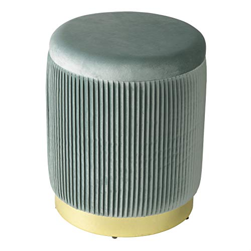 WOLTU SH61ts Sgabello Basso Pouf Poggiapiedi Contenitore Rotondo per Salotto Camera da Letto, Coperchio Rimovibile, Velluto Turchese
