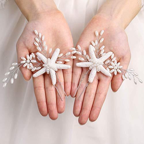 Brishow Bride Starfish Wedding Hair Pins Clips Silver Pearl Bridal Hair Piece Accessory for Women and Girls (2 PCS)