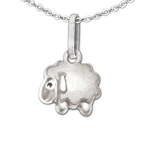 Clever Schmuck Conjunto plateado muy pequeño para niña y mujer, colgante de oveja mini de 8 mm, liso mate parcialmente brillante y cadena fina de ancla de 42 cm, plata de ley 925