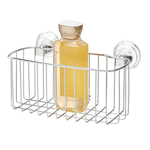 Price comparison product image iDesign Power Lock Suction Reo Bathroom Shower Caddy for Shampoo,  Conditioner,  Soap - Regular,  Stainless Steel