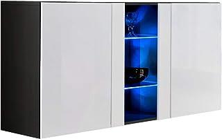 muebles bonitos - Aparador Colgante de diseño Salve en Color Negro con Blanco