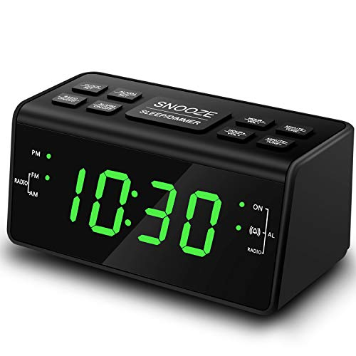Digital Alarm Clock, Alarm Clocks for Bedrooms with AM/FM Radio,Dimmer,Snooze,Battery Backup(248Green)