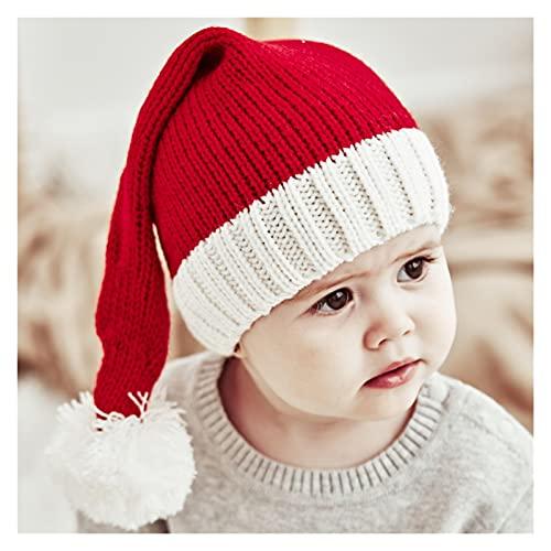 JBIVWW Sombrero De Navidad for Padres E Hijos, Gorro con Pompón, Color Sólido, Cálido, Crochet, for Mamá Y Bebé (Color : Baby Hat, Size : One Size)