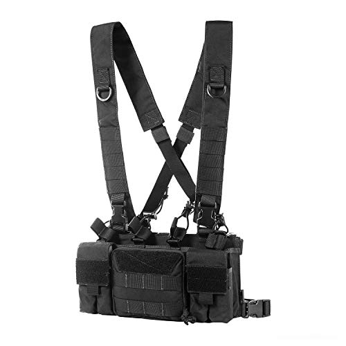 OneTigris Tactical Chest Rig with 5.56/7.62 Rifle Mag Pouches Pistol Mag Pouches and X Harness for Airsoft Shooting Wargame Paintball (Black)