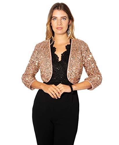 KRISP Bolero Elegante Mujer Fiesta Torera Talla Grande Punto Boda Blazer Traje Americana Chaqueta para Vestido, Rosa - (7363), 48 EU (20 UK), 7363-PNK-20