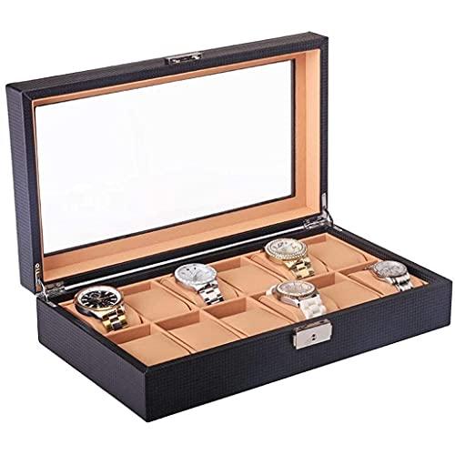 BNFD Caja De Reloj Grande De 10 Rejillas para Hombre, Vitrina De Madera Negra, Caja Organizadora, Caja De Almacenamiento con Cerradura Y Espejo (Color: A) (Color: B)