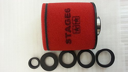 Racingluftfilter Stage6 Double-Layer Gross, AirBox rot, 28mm + 35mm + 42mm + 45mm + 49mm + 55mm Anschluss