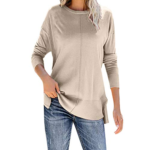 Cheapest Price! Amlaiworld Fashion Women Pullover Shirt Solid Loose O-Neck Long Sleeves T-Shirt Swea...