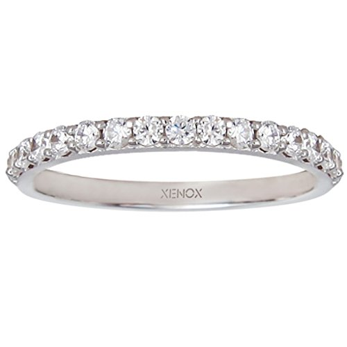XENOX XS7357 Damen Ring Silver Circle Sterling-Silber 925 Silber weiß Zirkonia 16,6 mm Größe 52