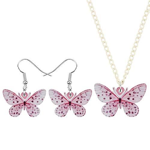 CQQO Acryl-Bunt Rosa Schmetterling Schmuck Sets Tier Insekt Halskette Ohrringe for Frauen-Mädchen-Kindermode Geschenke Zubehör (Color : Pink)