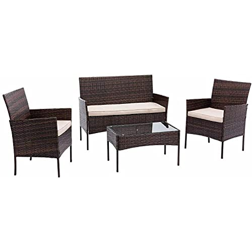 Rattan Garden Furniture Indoor Outdoor Patio Conservatory 4 Piece Set Chairs Sofa Glass Table