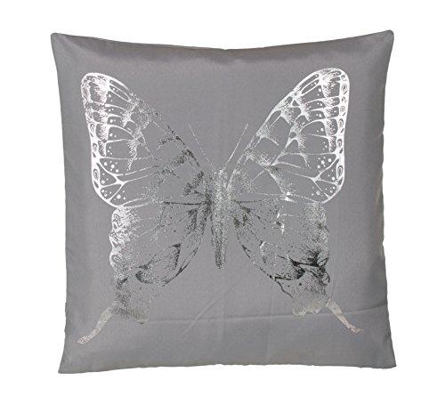 BRAND sseller moderna microfibra Cojín Almohada Cojín–Cojín (Peluche en plata de serigrafiado mariposa–Varios Diseños, microfibra, gris / plateado, 40 x 40 cm