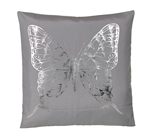 Brandsseller Trendy microvezel kussen hoofdkussen sierkussen decoratief kussen knuffelkussen in zilver bedrukte vlinder - verschillende ontwerpen