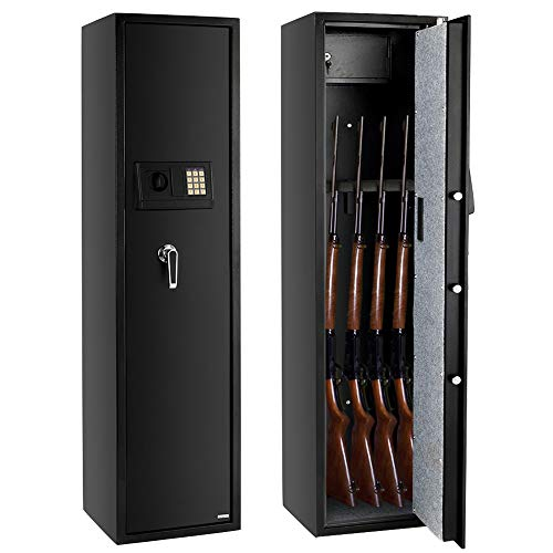 FCH Gun Safe Electronic 5-Gun Rifle Safe Large Firearm Safe Cabinet Quick Access Gun Storage Cabinet with Small Lock Box for Handguns Ammo┃Codes Memory Function┃Upgraded Package