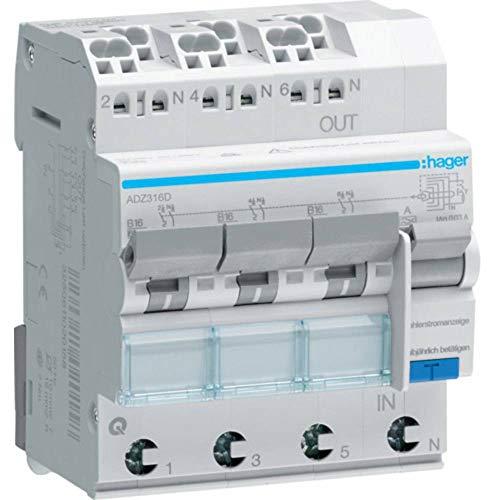 Hager FI/LS Schalter 3x 1p + N 6KA adz316d