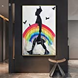 Street Graffiti Wall Art Rainbow Rain Man Aquarell Drucke