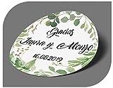 CrisPhy Pegatinas Personalizadas Boda con Nombre y Fecha, Etiquetas Adhesivas para Invitacion Boda, Bautizo, Compromiso, Comunion, Cumpleaños, Fiesta, Vintage, Sellos (Modelo 9)