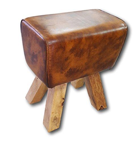 Retro Springbok zitkruk kruk beklede kruk voetenbankje massief hout met echt leer leer Cognac Brown