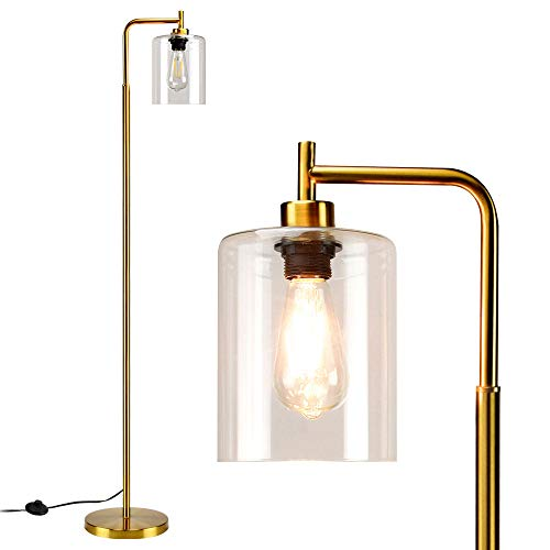 DLLT Modern Floor Lamp, Metal Pole Light with Hanging Glass Shade, Farmhouse Standing Industrial Floor Lamps, Brass Tall Lighting for Living Room, Bedroom, Office, Gold-E26