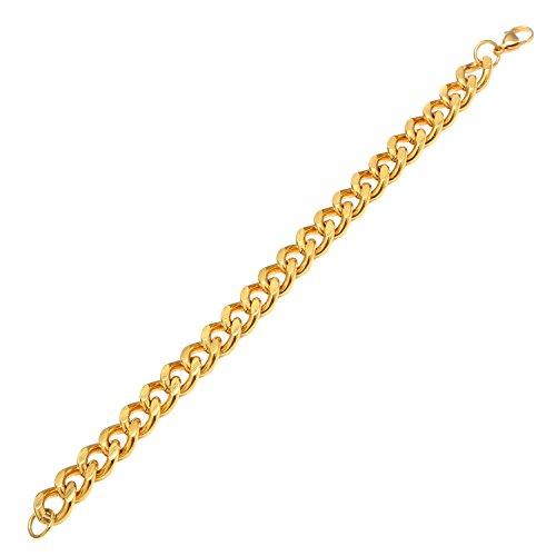 DonDon Herren Panzerketten Armband Edelstahl Gold Länge 22 cm - Breite 1,1 cm