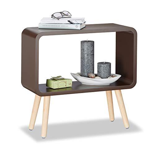 Relaxdays Standregal klein HxBxT: 50 x 53 x 20 cm, Nachttisch ohne Schublade, MDF Holzregal für das Kinderzimmer, braun