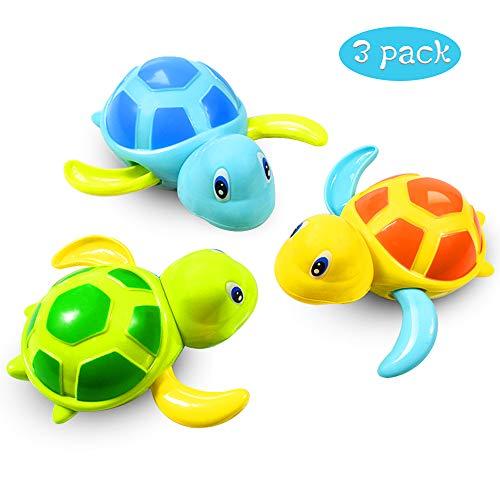 aovowog Baby Badespielzeug Baby Bade Bad Schwimmen Badewanne Pool Spielzeug Uhrwerk Schildkröte Schwimmbad Spielzeug Für Kleinkinder Jungen Mädchen(3 PCS, 3 Farbe)
