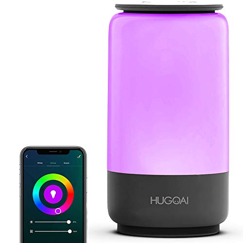Smart Table Lamp, HugoAi Dimmable Bedside Lamps for Bedrooms, Works with Alexa and Google Home, LED Nightstand Lamp with Shades of White Lights and Vibrant Colors, No Hub Required, Grey