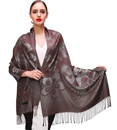 Shmily Girl Damen Schultertuch Stola - Eleganter Pashmina Schal mit floralem Muster in vielen Farben (One Size, Kaffee-c073)