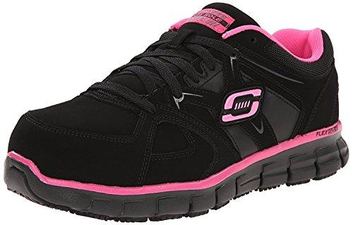 Skechers for Work Women's Synergy Sandlot Slip Resistant Work Shoe,Black/Pink,7 M US