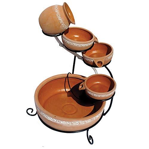 Koolscapes 5-Tier Terracotta Solar Cascading Fountain Brown