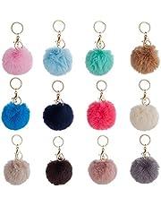 12 Pcs Pom Poms Keychains, Faux Rabbit Fur Pompoms Keyrings for Girls Women Car Home Office Key Hat Bags Accessories