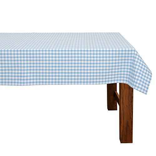FILU Tischdecke 100 x 140 cm Hellblau/Weiß kariert (Farbe und Größe wählbar) - hochwertig gefertigtes Tischtuch aus 100% Baumwolle