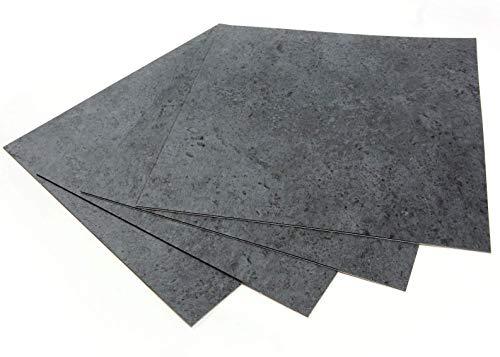 ROSEROSA Peel and Stick Engineered PVC Tiles Stone Concrete Pattern Durable Vinyl Flooring (ECK-205 : Square 4 Tiles)