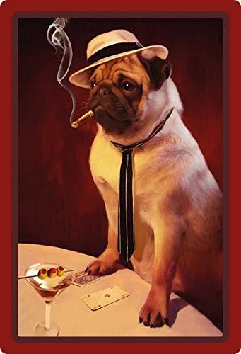Generisch metalen bord 20x30cm Mops bij kaarten spel Poker met drankje Sigaar hond bord