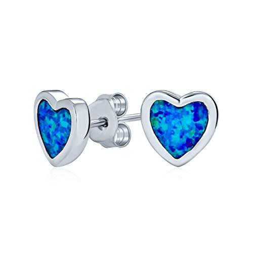 Azul creado ópalo corazón forma pendientes pendientes para las mujeres bisel set 925 plata de ley 9MM octubre piedra de nacimiento