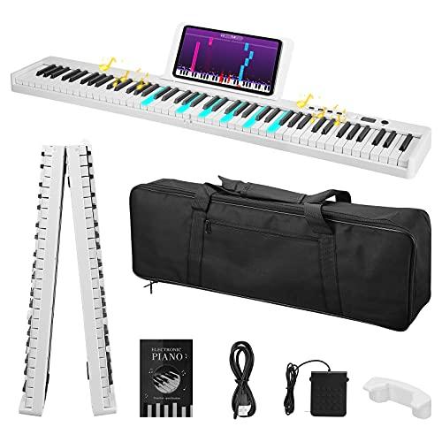 Pianoforte pieghevole a 88 tasti, SPUIOOY, piano digitale a grandezza naturale, piano elettrico con MIDI, altoparlanti, pedale sustain, principiante, bambino, adulto (bianco)