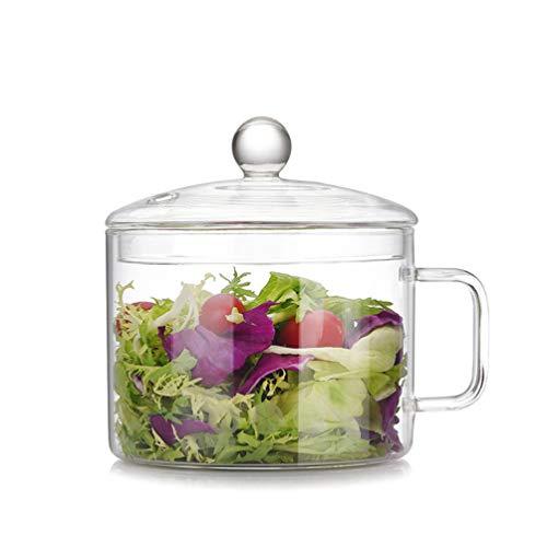 YARNOW Pentola in vetro con coperchio resistente al calore, pratica pentola in vetro con maniglia, multifunzione, sicura per pasta, zuppe, cereali, frutta, alimenti per bambini