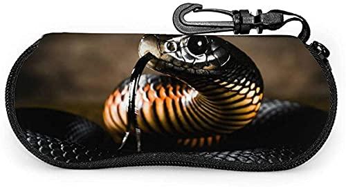 Tcerlcir Estuche para anteojos Estuche para gafas de sol suave con diseño de serpiente negra y linda nutria Estuche para anteojos para mujeres y hombres, 17x8cm