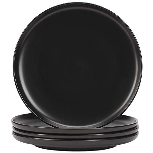 Hoxierence 10 Inch Matte Ceramic Dinner Plates - Large Diameter Round Serving Plate, Suitable for Steak, Pasta, Pizza, Home, Party, Restaurant - Set of 4(Black)