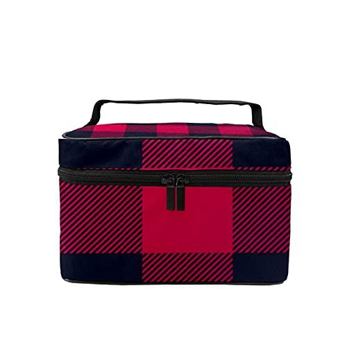 Bolsa de maquillaje de viaje grande para cosméticos con patrón de leñador, organizador con bolsa de malla para mujeres y niñas