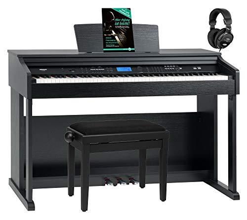 FunKey DP-2688A SM Digitalpiano Set - 88 anschlagsdynamische Tasten - Hammermechanik - 128-fach polyphon - 360 Sounds - 160 Styles - Spar-Set inkl. Klavierbank, Kopfhörer & Schule - schwarz matt