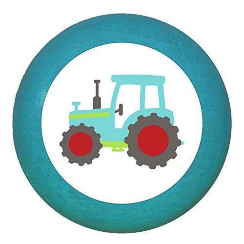 "Kindermöbelgriff""Traktor"" petrol Holz Buche Kinder Kinderzimmer 1 Stück Fahrzeuge Transportfahrzeuge Traum Kind"