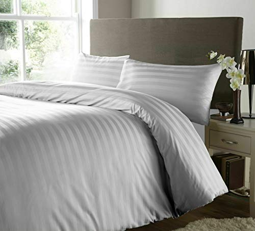 Hanfords Satin Stripe 400 Thread Count 100% Egyptian Cotton Duvet Cover Bedding Set Hotel Quality With Pillowcases 400TC (Grey Silver, Double)