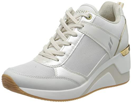 Skechers Damen Million AIR UP There Sneaker, Weißes Duraleather-Mesh-Leder mit goldfarbenem Rand, 38 EU