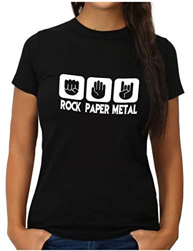 OM3® - Rock Paper Metal - T-Shirt - Damen - Stein Papier Schere Metalhand - L, Schwarz