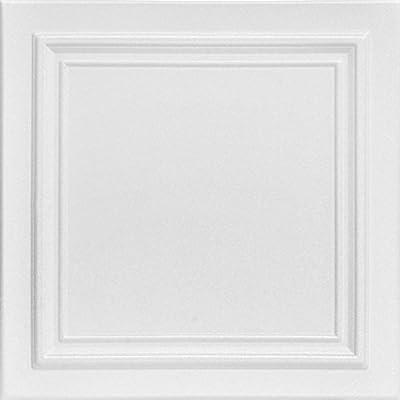 A la Maison Ceilings R24 Line Art Foam Glue-up Ceiling Tile (384 sq. ft./Case), Pack of 144, Plain White