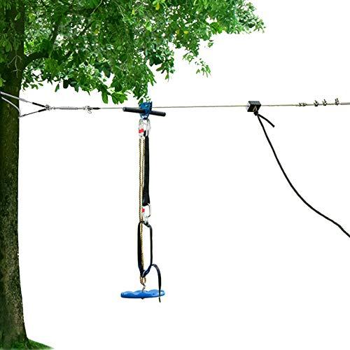 JOYMOR 118ft Zipline Kit, Backyard Zip Line with Detachable Trolley, 304 Stainless Steel Cable, Gear Bungee Brake Block System, Adjustable Safe Belt and Seat(118ft)